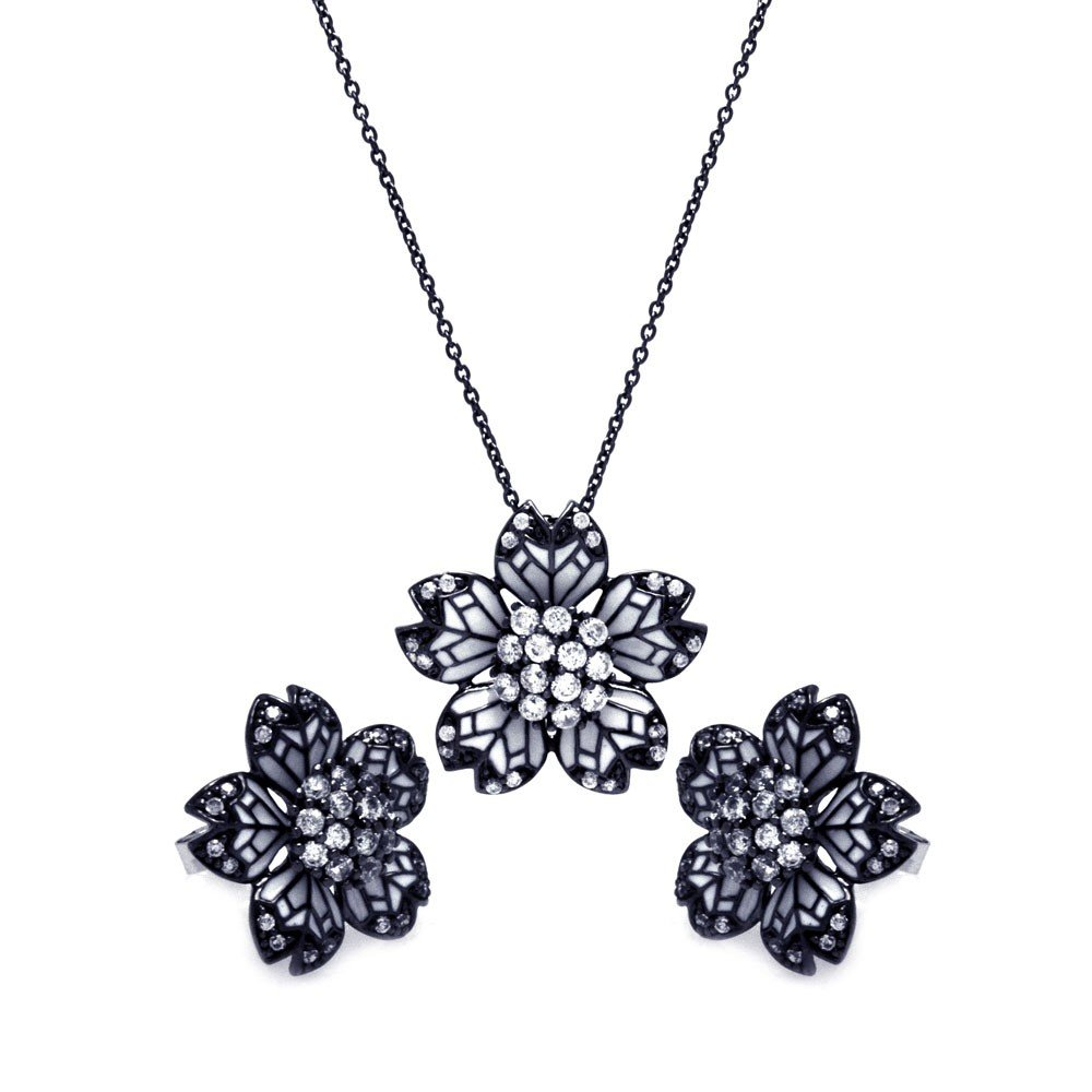 CloeoutWarehouse White Enamel Cubic Zirconia Flower Stud Earrings and Necklace Black Rhodium Plated Sterling Silver