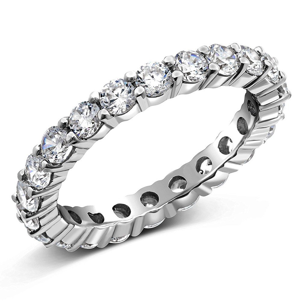 Orostar 3.00mm Sterling Silver 925 Round Cut Cubic Zirconia Eternity Engagement Wedding Band Ring (9)