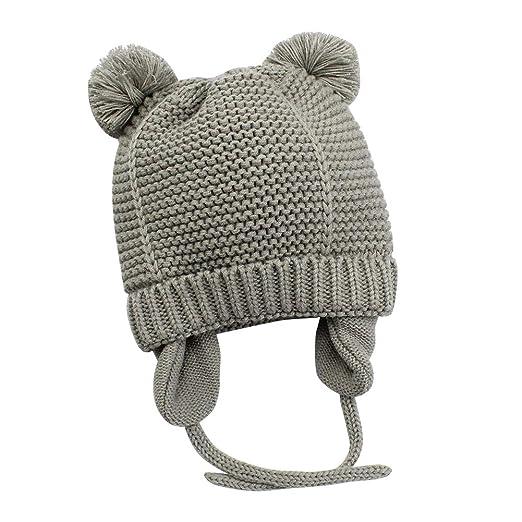 fbf4266b6 Baby Hats Winter Newborn Hat For Boys Girls, Infant Toddler Kids Warm Knit  Beanie With Earflap and Pom Pom