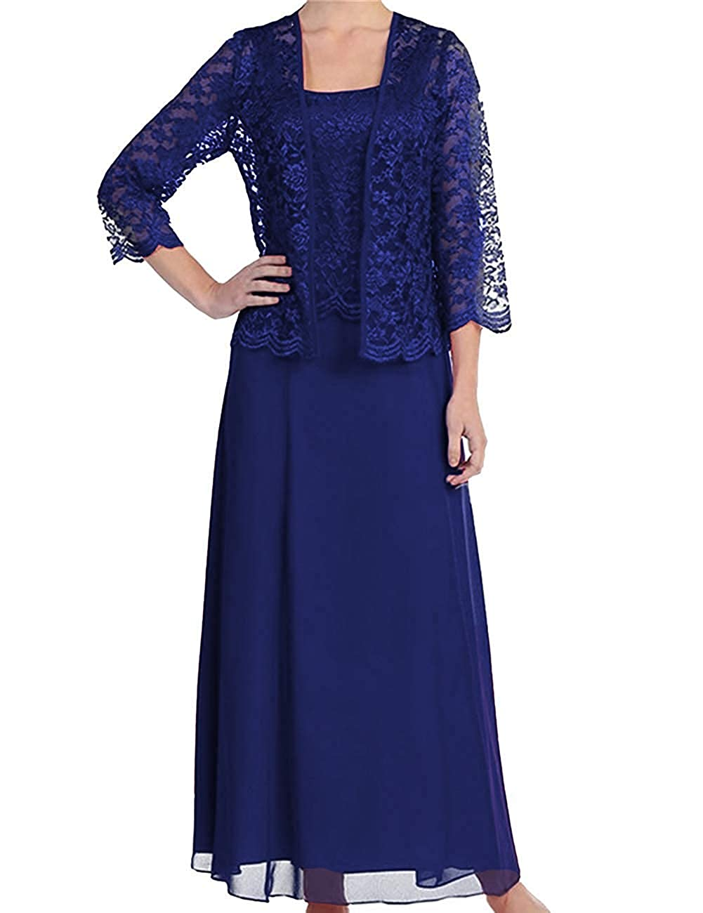 Royal bluee Women's Ankle Length Long Sleeves Mother of The Bride Dresses with Jacket 2 Piece