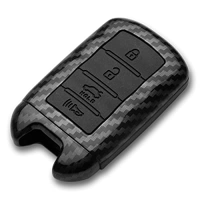 TANGSEN Smart Key Fob Case for KIA Cadenza K900 4 Button Keyless Entry Remote Personalized Protective Cover Plastic Carbon Fiber Pattern Black Silicone: Automotive