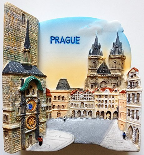 Old Town Hall and Astronomical Clock PRAGUE Resin 3D fridge Refrigerator Thai Magnet Hand Made Craft. by Thai MCnets by Thai MCnets