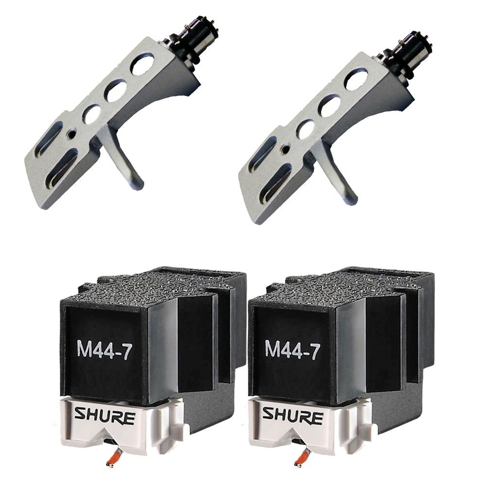 Shure M44-7 Cartridge PAIR with Silver Headshells fits- Technics Stanton