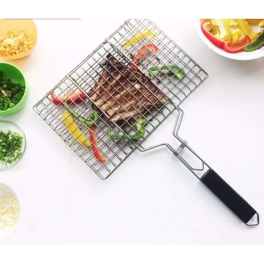 ROIY 304 Stainless Steel Grilled Fish Net Commercial Large Grilled Fish Clip Net Plywood Bold Barbecue Tool Supplies Grilled Fish Net (Small) (Size : Medium) by ROIY