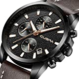 CUENA Mens Analog Quartz Wrist Watch, Men Chronograph Date Watch with Brown Leather Band Waterproof 30M by