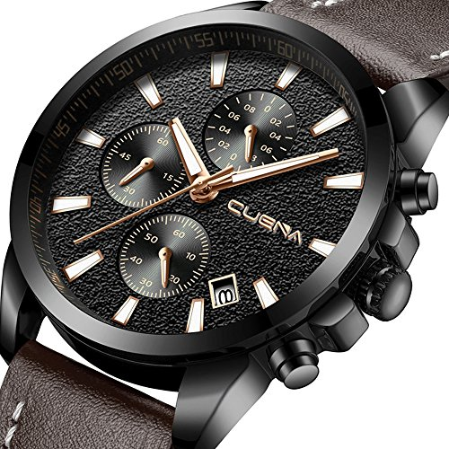 CUENA Mens Analog Quartz Wrist Watch, Men Chronograph Date Watch with Brown Leather Band Waterproof 30M by -