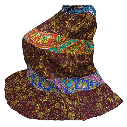 67374a007568 ... Indian Bollywood Frauen Lange Rock Baumwolle Gedruckt Lässig Tragen  Sommer Mode Rock Kastanienbraun, blau, ...