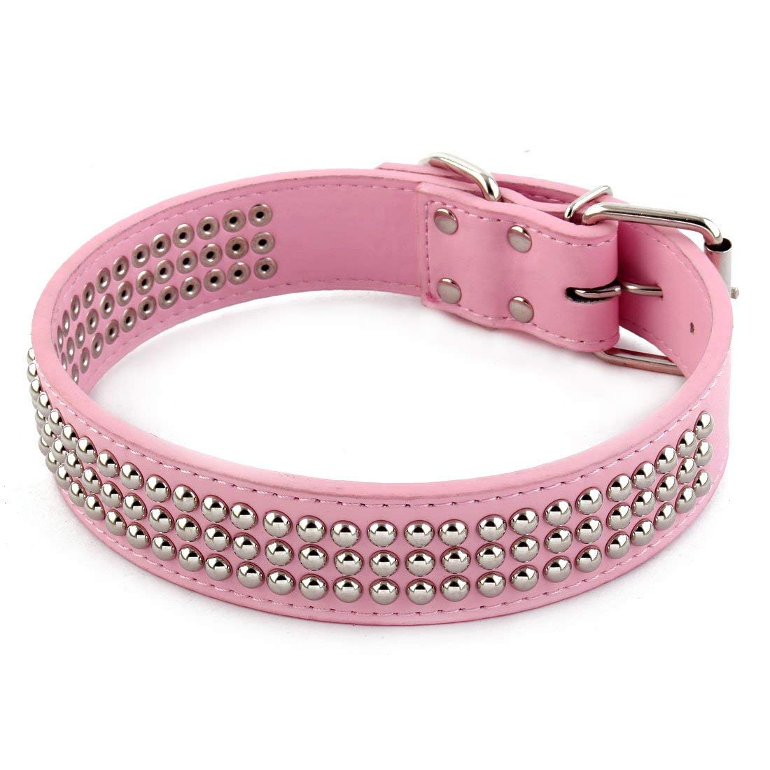 Faux Leather Pet Dog Training Adjustable Buckle Neck Collar Strap M Size Pink