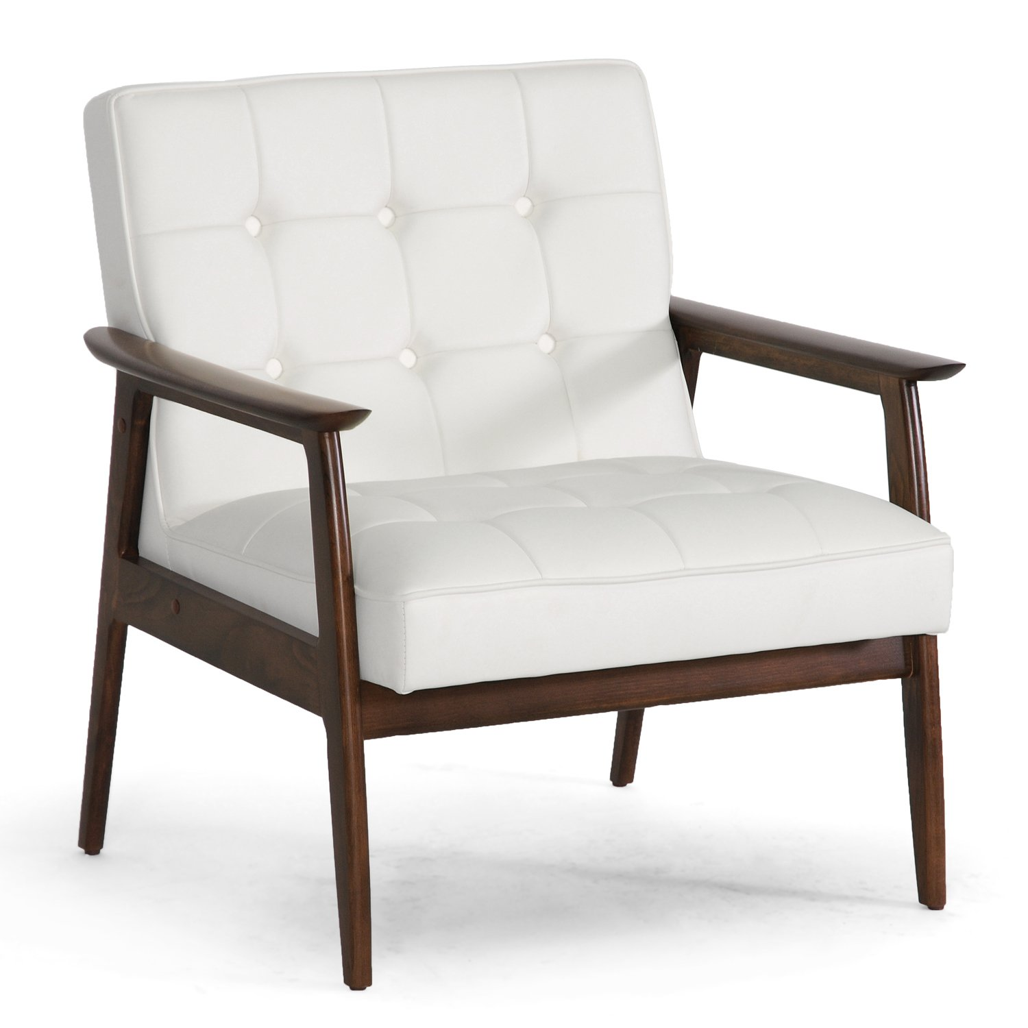 Amazon.com: Baxton Studio Stratham Mid Century Modern Club Chair, White:  Kitchen U0026 Dining