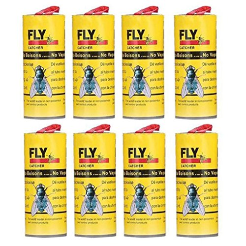 Chrikathy 8 Rolls Flies Sticker Eliminate Flies Insect Bug Glue Paper Strong Sticky Fly Paper Catcher Trap for Indoor Outdoor