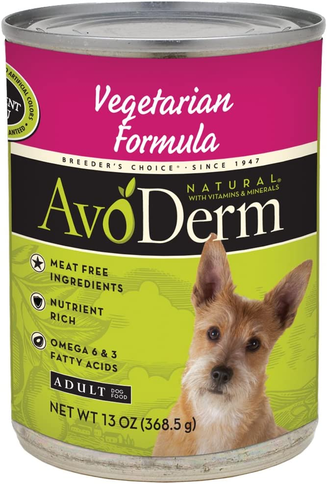 AvoDerm Natural Wet Dog Food for All Life Stages, 13 oz Cans (Pack of 12), Vegetarian Recipe