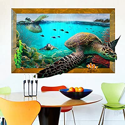 DNVEN Animal 34 inches x 22 inches DIY 3D Swimming Sea Turtle Fish Animals Children Nursery Kids Room Wall Stickers Decals: Home & Kitchen