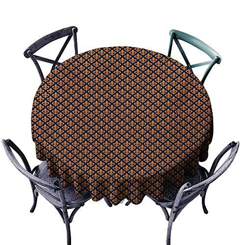 VIVIDX Round Tablecloth,Fleur De Lis,Orange Ancient Heraldry Symbol Pattern France History Kingdom Royalty Theme,Table Cover for Home Restaurant,55 INCH,Indigo Orange ()