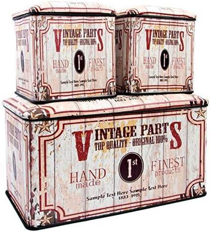Indhouse - Caja de almacenaje de Estilo Industrial Vintage en Metal Hand Made - Set de 3: Amazon.es: Hogar