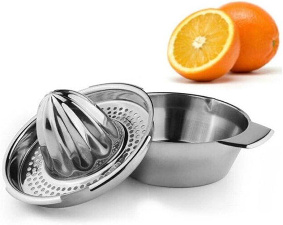 Stainless Steel kitchen Juicer Orange and Lemon Squeezer Juice Maker Reamer with Bowl& Strainer.
