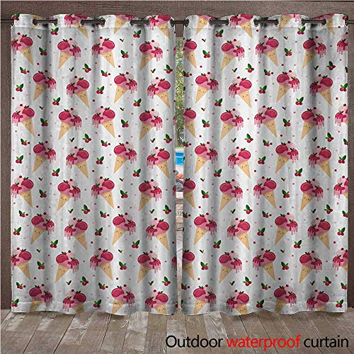 BlountDecor Ice Cream Door/Gazebo Curtain Childish Pattern Melting Cranberry Ice Cream Cones Dripping Cherries StarsW120 x L84 Peach Pink Green