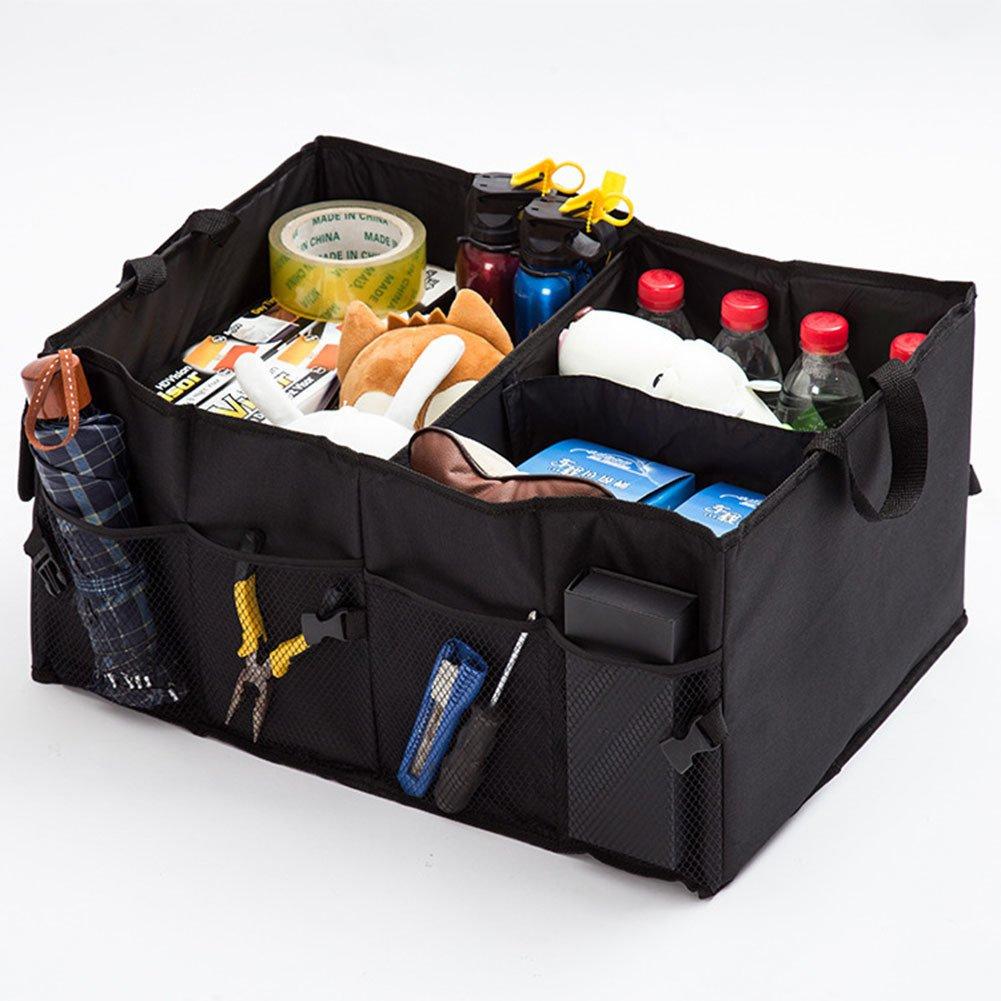 Rumfo Auto Trunk Storage Organizer Bin with Pockets - For Car, SUV, Truck - Durable Collapsible Cargo Storage - Non Slip Bottom Strips to Prevent Sliding