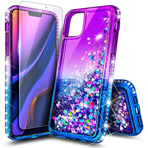 NageBee Case for iPhone 11 Pro Max (2019), Glitter Liquid Floating Bling Sparkle Moving Quicksand Waterfall Girls Women Cute Protective Phone Case with Tempered Glass Screen Protector -Purple/Blue