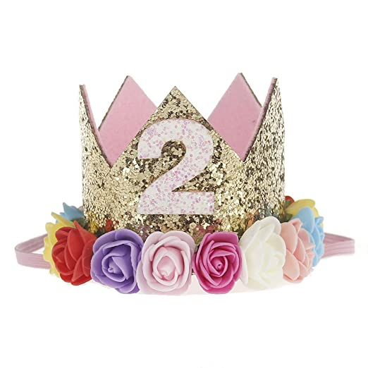 Baby Girls Glitter Crown Birthday Headbands With Artificial Rose Flower 2 Year OldMulti