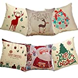 Ivenf 6 Pack Christmas Throw Pillow Cases
