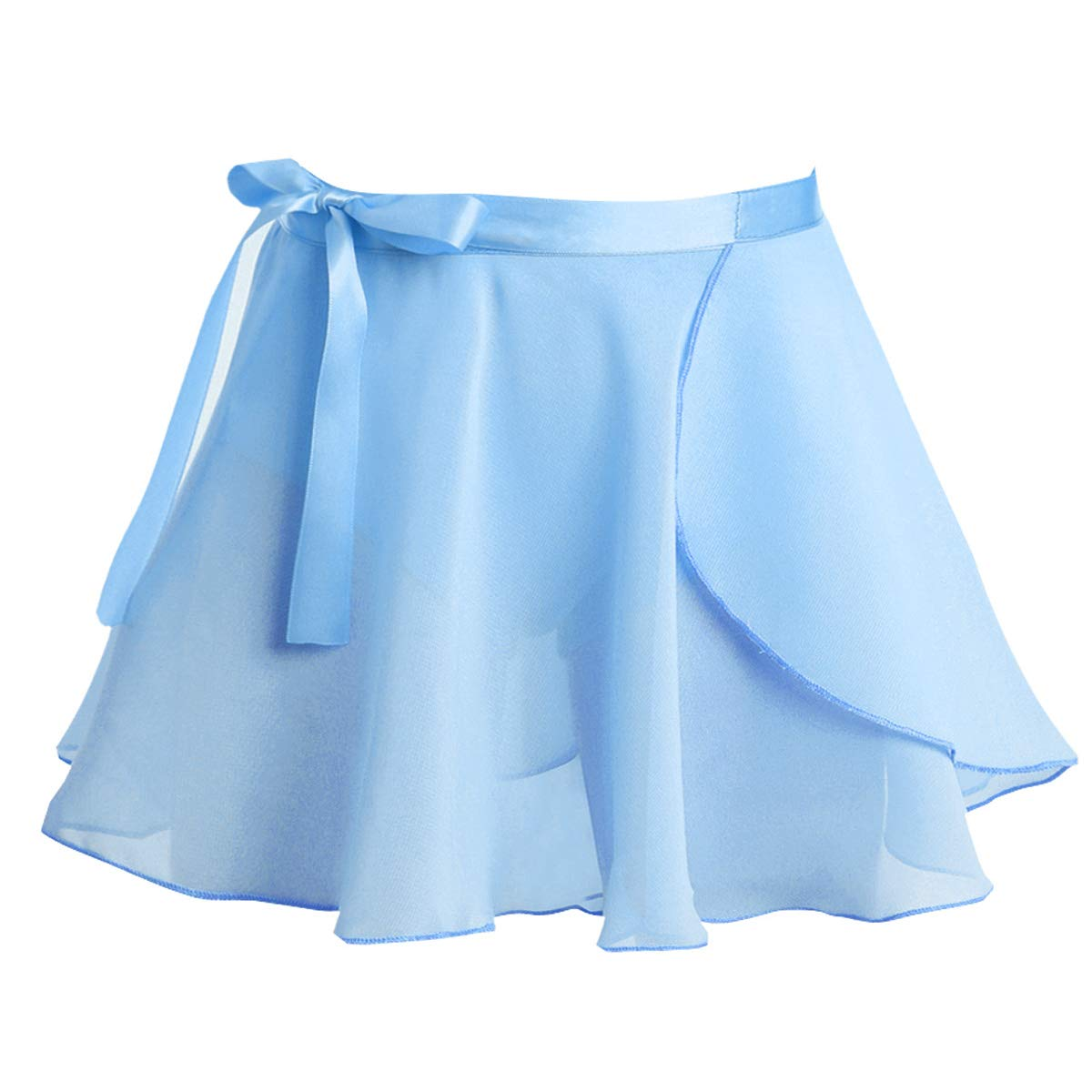 TiaoBug Girls' Ballet Dance Basic Wrap Over Scarf Chiffon Skirt with Tie Waist Collection Skate Workout Training Skorts Light Blue 3-4 by TiaoBug