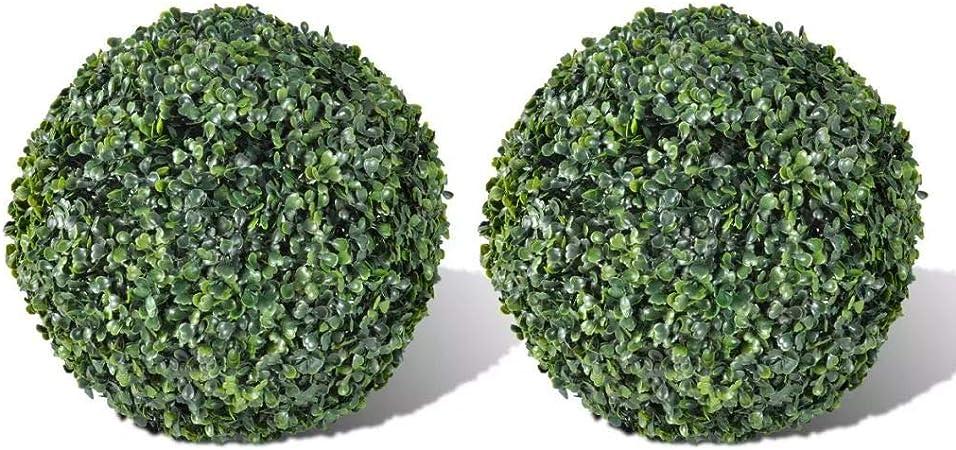 Wakects - 2 Bolas de Boj Artificiales 35 cm para Decoración de Jardín, Planta Artificial Exterior, Arbusto de Jardín Planta Imitación,color Verde: Amazon.es: Hogar