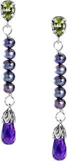 product image for Carolyn Pollack Sterling Silver Purple Amethyst and Green Peridot Gemstone and Freshwater Cultured Pearl Linear Dangle Earrings
