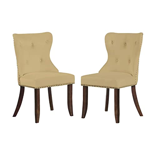 Merax Script Fabric Accent Chair Dining Room Chair with Solid Wood Legs, Set of 2