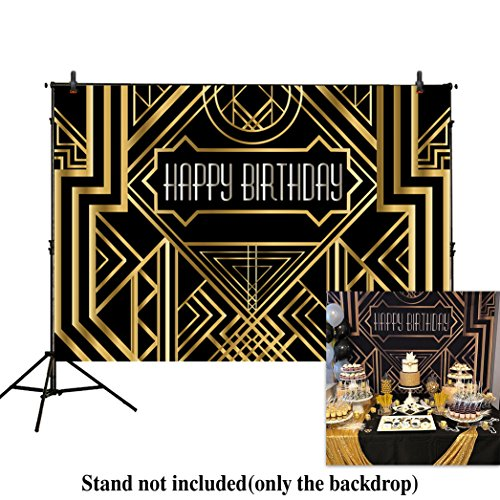 Allenjoy 8x6ft photography backdrops Great Gatsby Birthday Adults children party black and gold golden banner photo studio booth background newborn baby shower photocall by Allenjoy