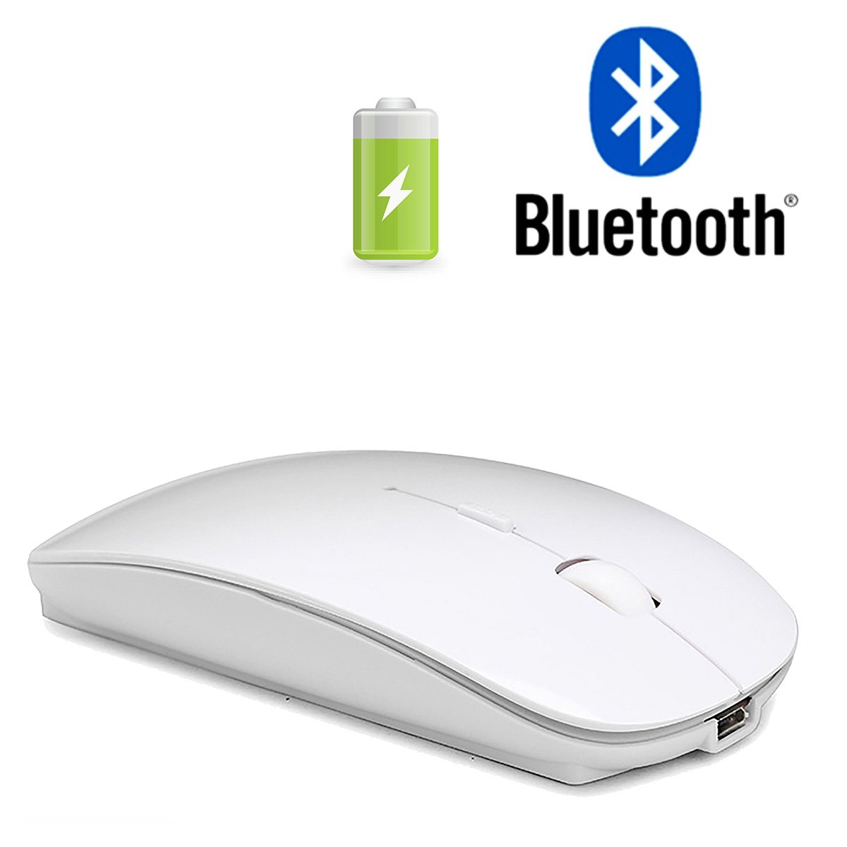 Bluetooth Mouse Rechargeable Bluetooth Mouse for MacBook Pro MacBook Air Laptop Tablet PC,Wireless Bluetooth Mouse for MacBook Pro Bluetooth Mouse for Mac White Aulun