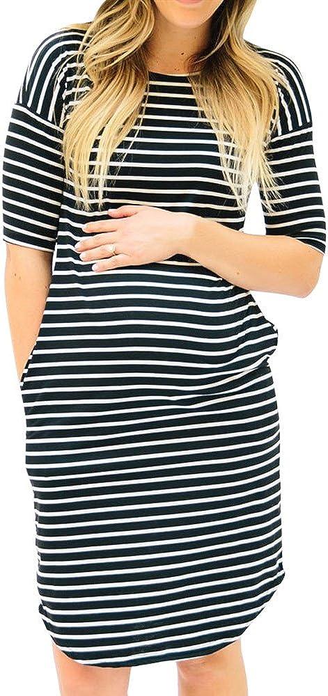 Robes /Ét/é YUYOUG Mode Femmes Grossesse Col Rond /à Manches Courtes Robe de maternit/é de Soins Infirmiers