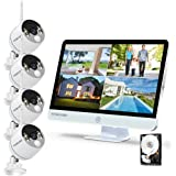 YESKAMO Long Range Wireless Outdoor Home Security Camera System with 16inch 1080p IPS Monitor 2TB Hard Drive [Floodlight & Au