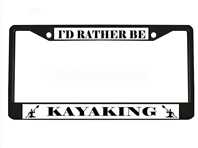 MY OTHER RIDE IS A KAYAK Black Metal License Plate Frame Tag Holder