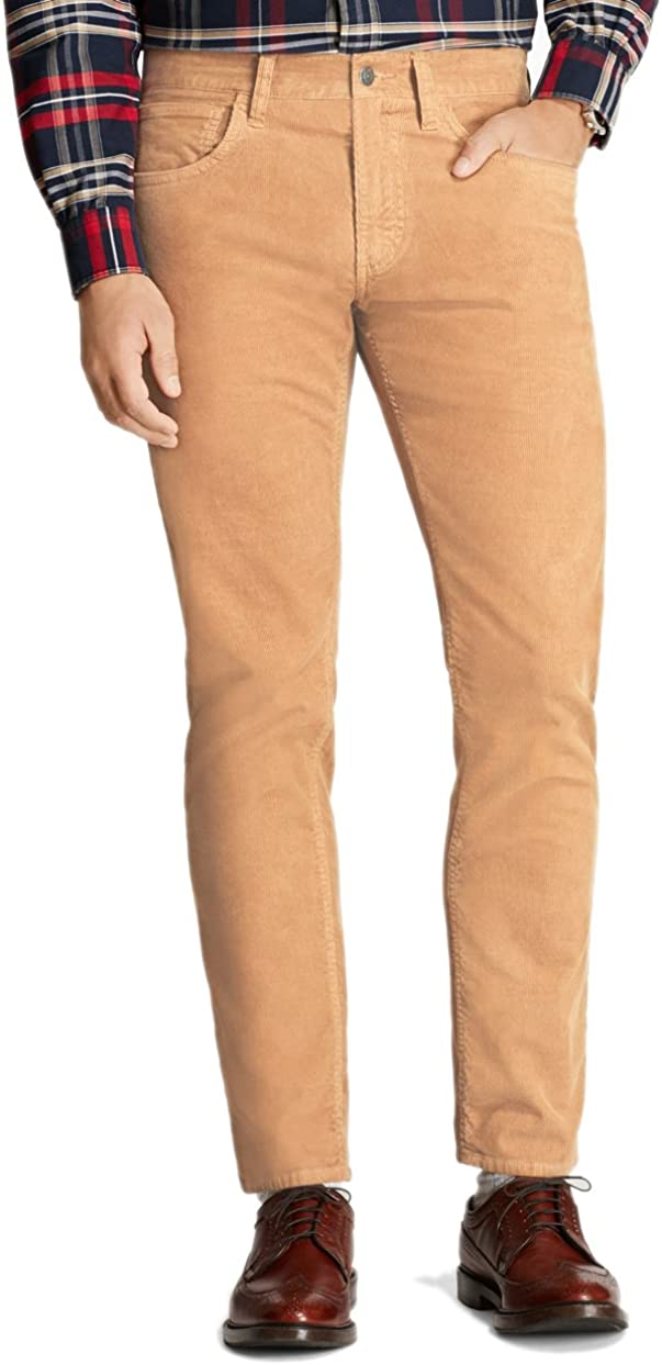 Amazon Com Brooks Brothers Red Fleece De Los Hombres Garment Dyed Pana Pantalones Camel Beige 42 W X 30l Clothing