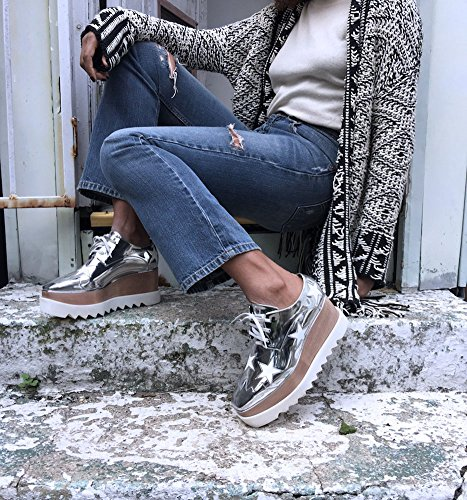 Funky Star Lace Up Vegan Leather Womens Platform Oxford Wedge W8vBDW9Q3Y
