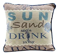 Sun Sand and Drink in My Hand 12 Inch Natural Decorative Beach Throw Pillow