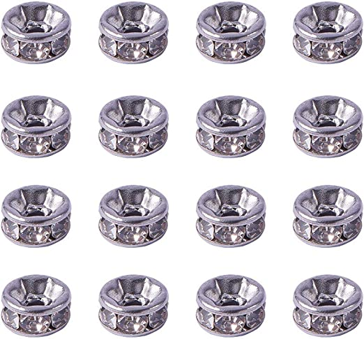 20pcs Platinum Tone Brass Metal Beads Smooth Rondelle Tiny Loose Spacers 6x3mm
