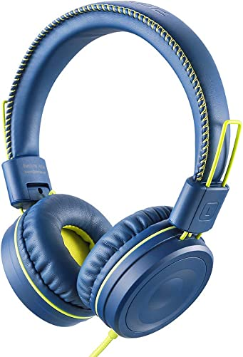 POWMEE M1 Kids Headphones Wired Headphone for Kids,Foldable Adjustable Stereo Tangle-Free,3.5MM Jack Wire Cord On-Ear Headphone for Children Blue