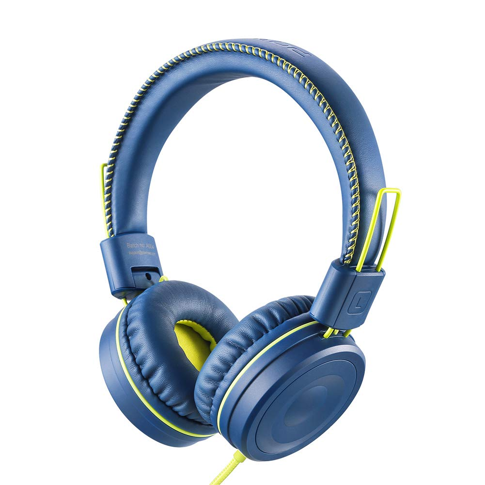 POWMEE M1 Kids Headphones Wired Headphone for Kids,Foldable Adjustable Stereo Tangle-Free,3.5MM Jack Wire Cord On-Ear Headphone for Children (Blue) by POWMEE
