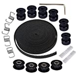 Sunhokey 5M GT2 Timing Belt 6mm Width+6pcs 20 Teeth 5mm Bore Timing Pulley Wheel+ 4pcs Idler+ 4pcs Tensioner Spring Torsion + 2pcs Gear Clamp Mount Block with Allen Wrench for 3D Printer CNC (Color: Black-GT2 5mm Bore 20 Teeth kit)