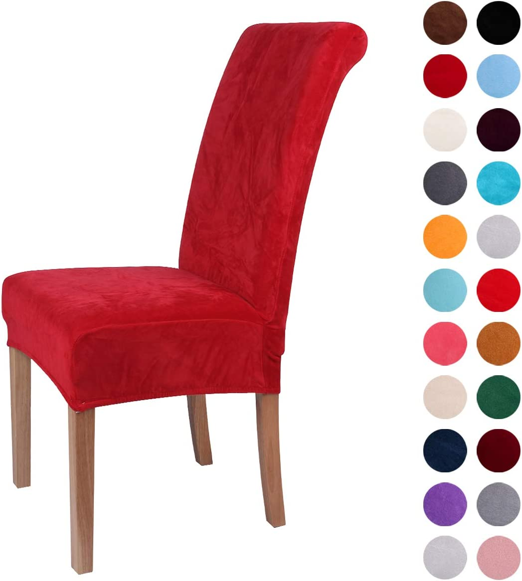 Colorxy Velvet Spandex Fabric Stretch Dining Room Chair Slipcovers Home Decor Set of 6, Red
