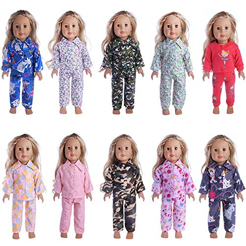 Sunward 1 Set 18 Inch Doll Clothing/Clothes, 18 Inch Doll 2 Piece Classic Cute Pajama Outfit (D)