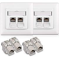 kwmobile UTP contactdoos - 4x keystone adapters voor CAT6A kabels - 2x wandcontactdoos met dubbele RJ45 poort - Met…