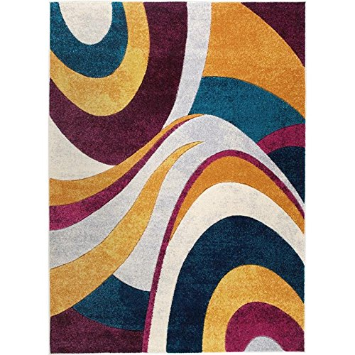 Home Dynamix Tribeca Slade Area Rug | Contemporary Living Room Rug | Modern Abstract Design | Bold-Vibrant Colors | Purple, Blue, Gray 9'2″ x 12'5