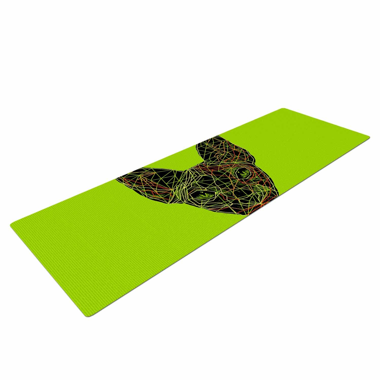 RT1089AYM01 KESS InHouse BarmalisiRTB Geometry Sphynx  Green Animals Yoga Mat 72 X 24 72 X 24 KESS Global Inc