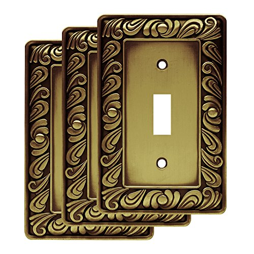 - Franklin Brass W10108V-ABT-R Paisley Single Toggle Switch Wall Plate, Tumbled Antique Brass, Pack of 3