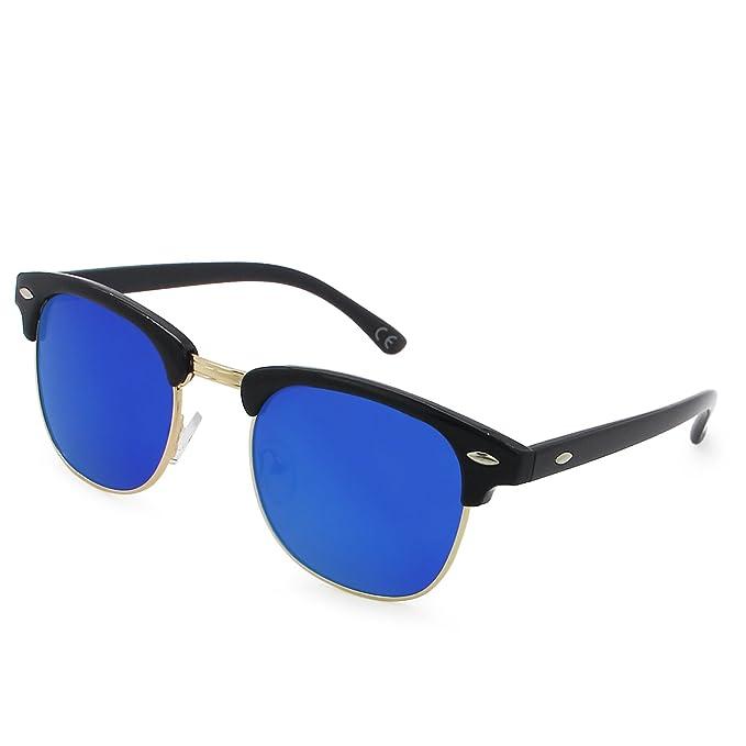 AMZTM Clásico Retro Clubmaster Cuerno Media montura Gafas De Sol Polarizado Hombre Mujer Moda Espejado Marco