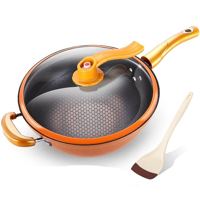 Sartenes para freír no pegue sartenes,No tóxico Protección contra Salpicaduras Vacío Libre de pfoa Batería de Cocina Antiadherente de Aluminio Sin Humo 12.6 ...