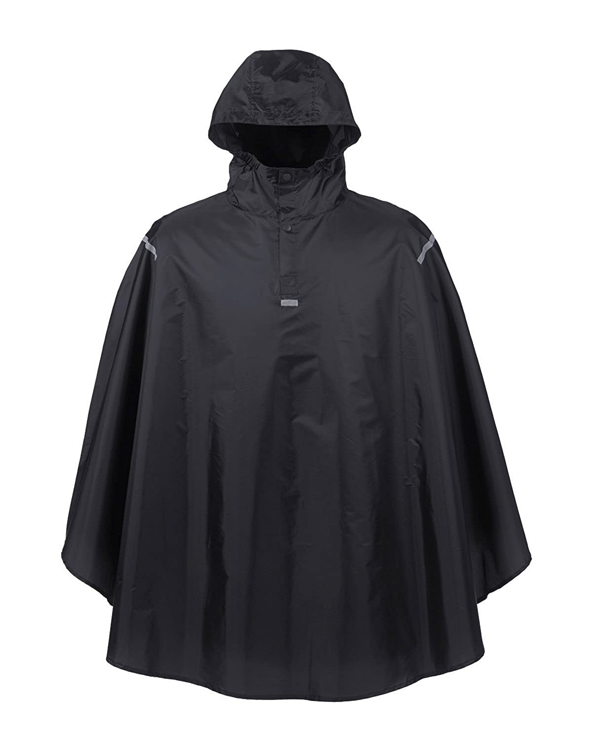 PF1040 ZUZ-PF1040-OS-Black ZUZIFY Waterproof Packable Rain Poncho With Reflective Details