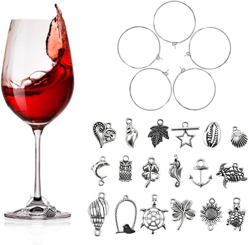 100 Silver Plated Wine Glass Charm Rings//Earring Hoops Wedding Hen Party .;b$